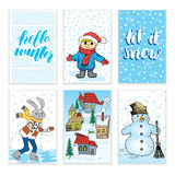 Winter cards Hand drawn sketch doodles and lettering. Vector illustration. Royalty Free Stock Photo
