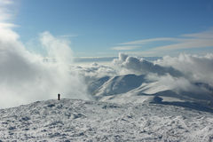 Winter Carpathian mountains in clouds Royalty Free Stock Images