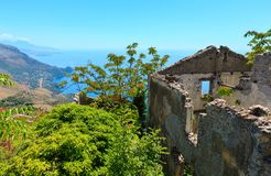 Ruins of the original settlement of Maratea. italy. The ruins of the original settlement of Maratea on a rocky escarpment just below the Christ the Redeemer Stock Photo
