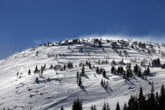 Winter Carpathian Mountains at wind day Stock Photo