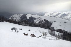 Winter in the Carpathian Mountains.  Royalty Free Stock Photo