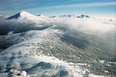 Winter Carpathians. A mountain Goverla, snow-capped slopes Stock Images