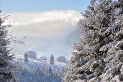 Winter in Carpathians. Small mountain village in Carpathian Mountains in winter Royalty Free Stock Photography
