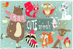 Winter cartoon animals Stock Images