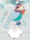 Winter cartoon background with cute bird Royalty Free Stock Photo