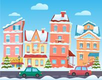 Winter cartoon city landscape. Vector Christmas background with funny houses. Snowy town at holiday eve. Winter cartoon city landscape. Christmas background stock illustration