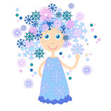 Winter Cartoon Girl Snowflakes Hair Stock Images