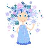 Winter Cartoon Girl Snowflakes Hair Stock Images