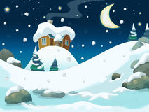 Winter cartoon illustration for the children Stock Photography
