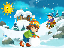 Winter cartoon illustration for the children Stock Images