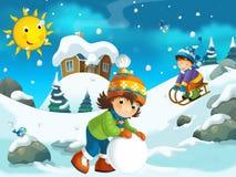 Winter cartoon illustration for the children Stock Images