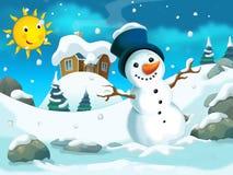 Winter cartoon illustration for the children Stock Photography