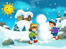 Winter cartoon illustration for the children Royalty Free Stock Photos
