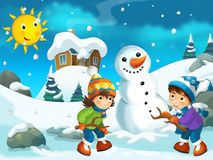 Winter cartoon illustration for the children Stock Photo