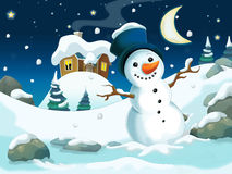 Winter cartoon illustration for the children Royalty Free Stock Images