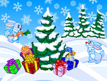 The winter cartoon illustration of a christmas tree and two rabb. Funny winter cartoon illustration with two blue rabbits, forest and a christmas tree with a lot Stock Image