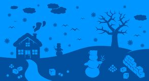 Winter cartoon landscape. With many winter and christmas elements Royalty Free Stock Photography