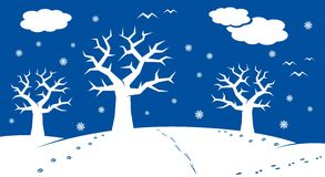Winter cartoon landscape. With many winter and christmas elements Royalty Free Stock Photos