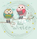 Winter cartoon owls Stock Image