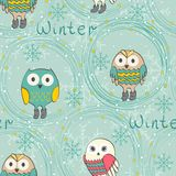 Winter cartoon owls Royalty Free Stock Images