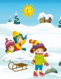 Winter cartoon scene Stock Photo