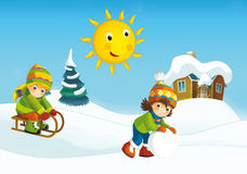 Winter cartoon scene. Happy and colorful llustration for the children Stock Image