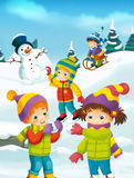 Winter cartoon scene Royalty Free Stock Image