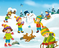 Winter cartoon scene. Happy and colorful llustration for the children Stock Photo