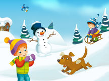 Winter cartoon scene. Happy and colorful llustration for the children Royalty Free Stock Image