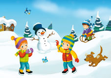 Winter cartoon scene. Happy and colorful llustration for the children Stock Images