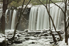 Winter Cascade on forest. River on winter with cascade. Rascafria, Madrid, Spain royalty free stock photos