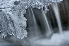 Winter Cascade Framed by Ice Stock Photo