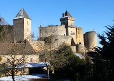 Winter am Castelnaud Schloss in Dordogne Frankreich Stockbild