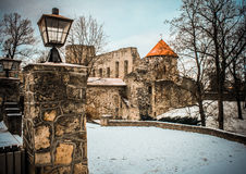 Winter Castle. Cesis Castle. Winter in Latvia Royalty Free Stock Image