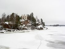 Winter castle Ludvigstein. Russia. Vyborg. Park Monrepo Stock Image