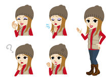 Winter casual fashioned girl full length and Facial expression set Stock Photography