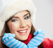 Winter casual style woman close up portrait Royalty Free Stock Photo