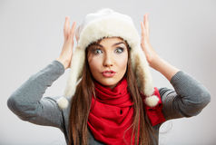 Winter casual style woman close up portrait Stock Photos