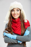 Winter casual style woman close up portrait Stock Photo