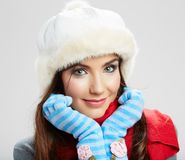 Winter casual style woman close up portrait Royalty Free Stock Photography