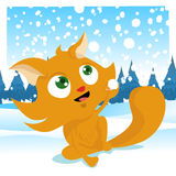 Winter cat Stock Images