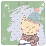Winter cat in clothes scharf and hat. Hand drawn. Illustration Stock Photos