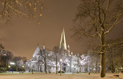 Winter Cathedral. The Nidarosdomen Cathedral in a winter night Stock Photo