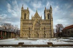 Winter cathedral facade Stock Photos