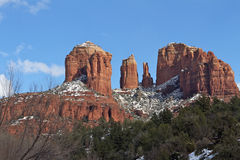 Winter on Cathedral Rock Royalty Free Stock Photography