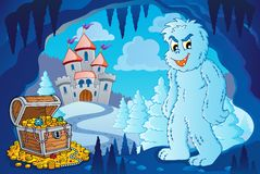 Winter cave with yeti. Eps10 vector illustration Royalty Free Stock Photography