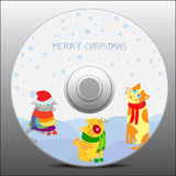 Winter CD design. Vector presentation of Christmas theme CD design with cats and snowfall Stock Images