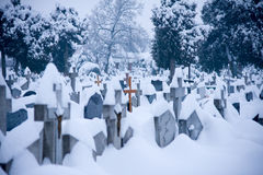 Winter cementery Stock Photos
