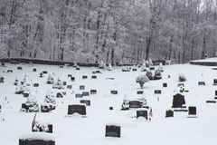 Winter. Cemetery under snow on winter time Stock Photo