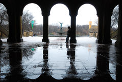 Winter at central park. Arches near bethesda fountain at central park in winter Stock Photos